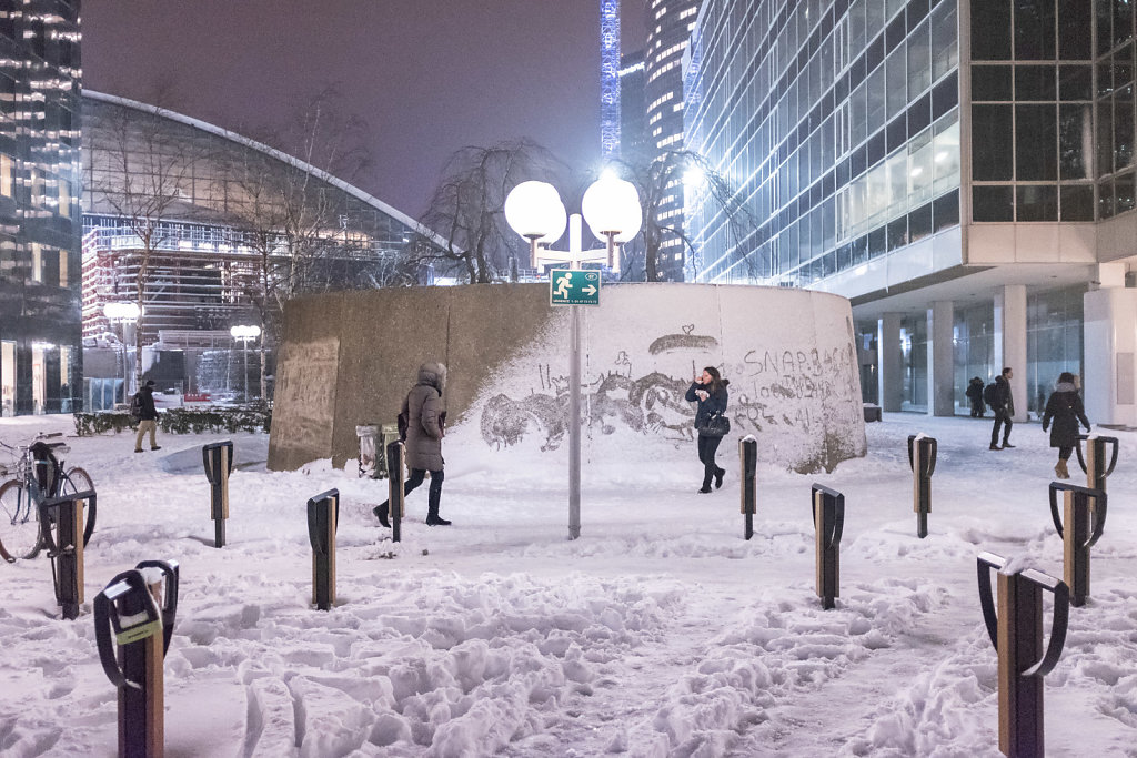 La Defense sous la neige